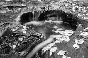 Skillet Falls Wisconsin waterfall leaves blur black and white